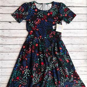 NWT LULAROE Amelia Dress Unicorn Bright Floral S